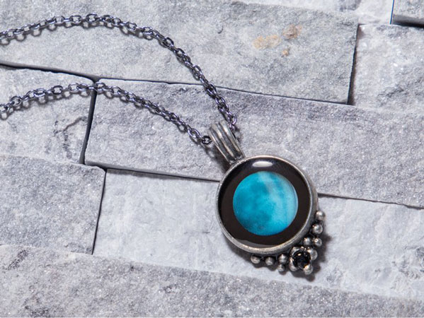 image of moon necklace gift for women gray hair