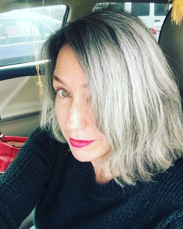 image of woman transition to gray hair