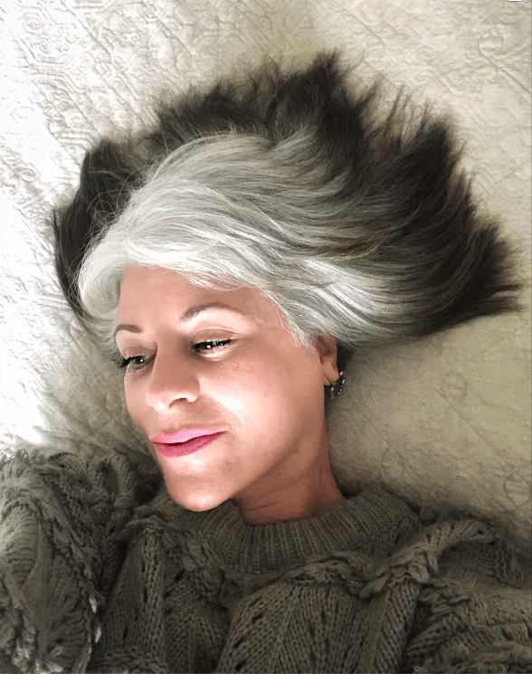 image of woman with graying hair