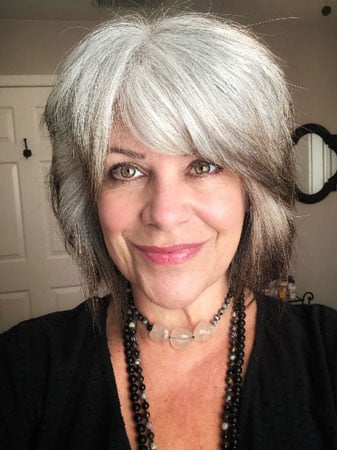 image of woman transitioning to gray
