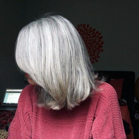 image of silver haired woman