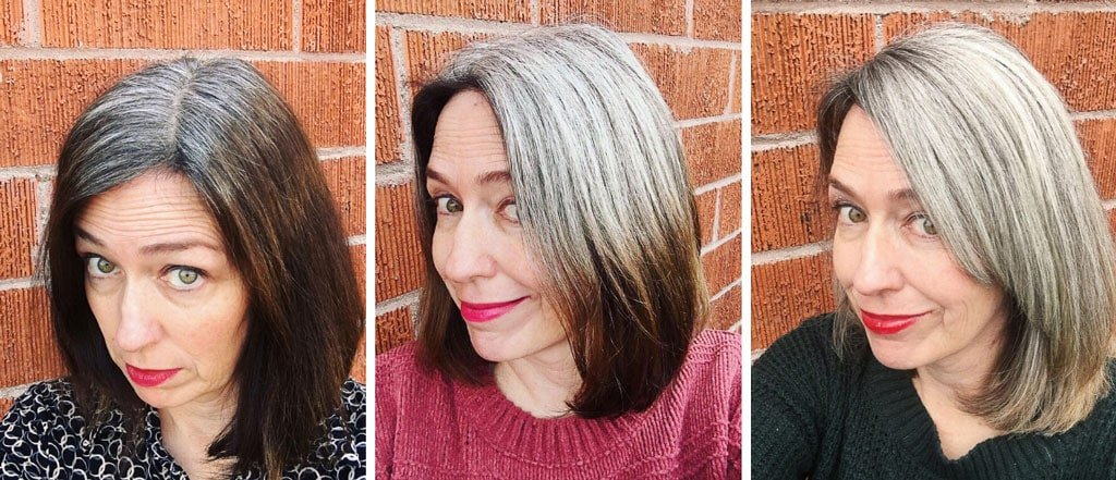 image of brunette to gray hair