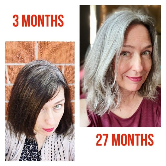 Katie's gray hair transition at 3 months, and 27 months