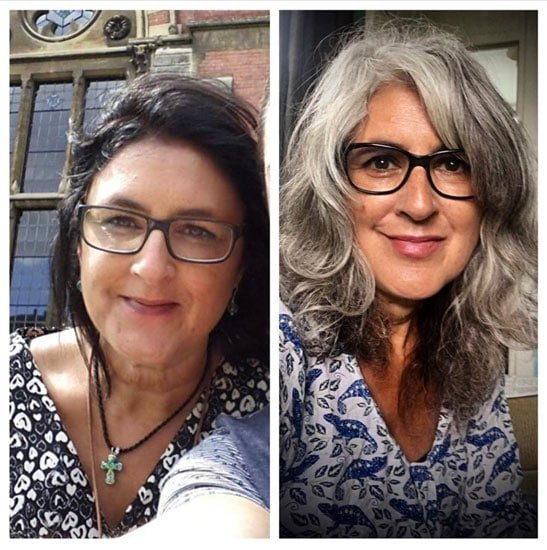 A look at Liz before she grew out her gray hair, and after her gray hair transition