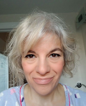 image of woman going grey from blonde