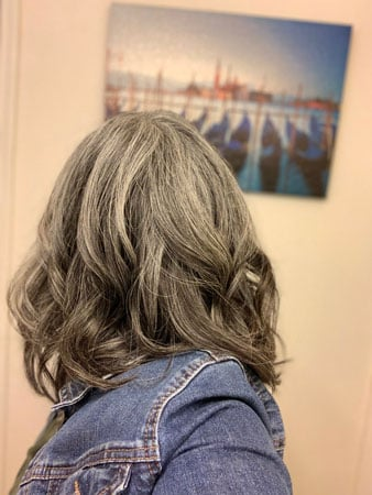 image of woman with gray curls