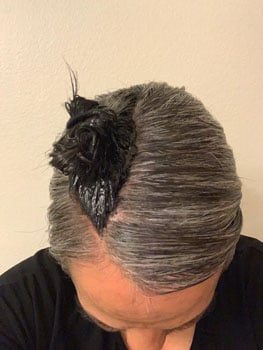 Diana used the strip dye method to gradually transition to gray hair
