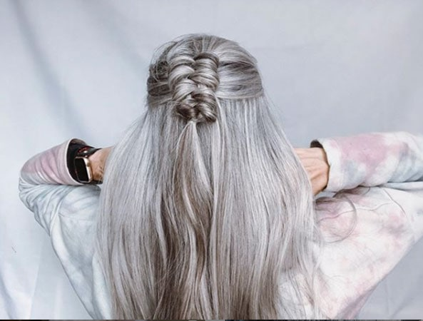 image of woman with infinity braid gray hair