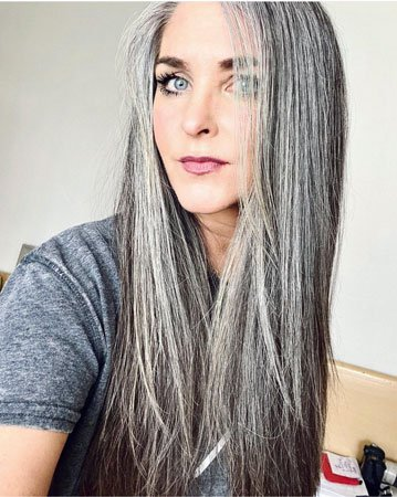 image of young woman long gray hair