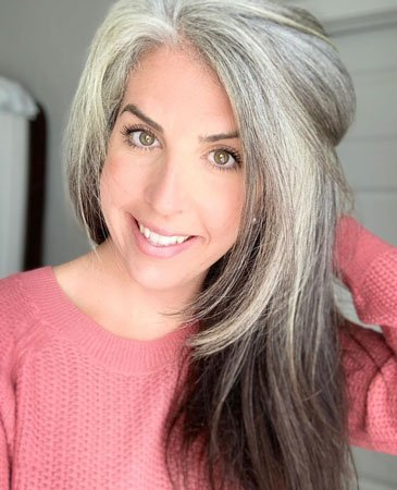 image of woman with long straight grey hair