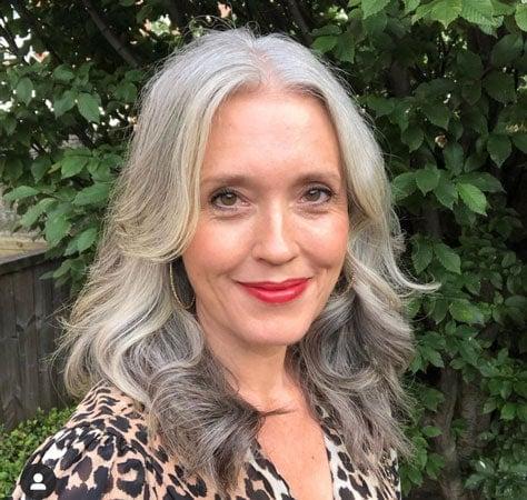 image of woman wavy gray hair