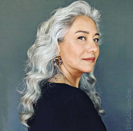 image of hispanic woman gray curls