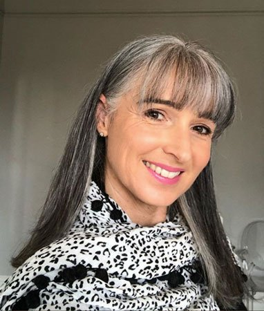 image of woman with gray bangs