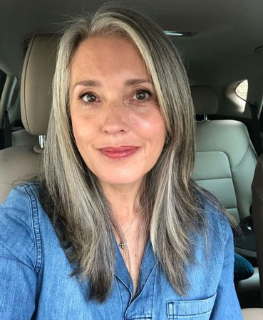 image of woman with straight grey hair