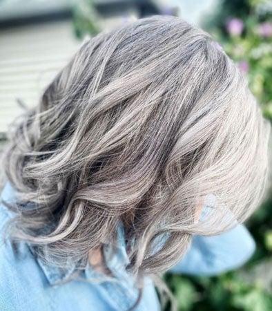 image of balayage highlights on gray hair