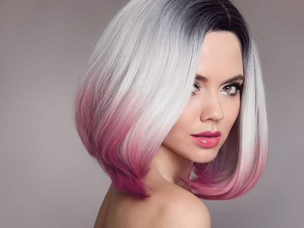 image of ombre hair gray and pink
