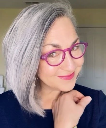 image of woman gray hair and glasses